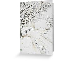 Snowy pigeon tower Rivington Greeting Card