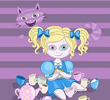 Alice in wonderland doll having tea by hellbereth