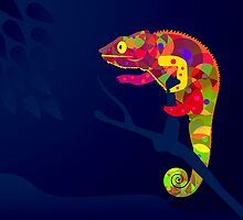 Paper Craft Chameleon by STEELGRAPHICS
