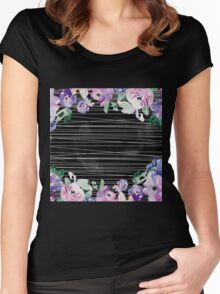 Modern,trendy,contempoary,pattern,art,water color,hand painted, flowers,floral,stripes,white,black,purple, green,blue,lavender Women's Fitted Scoop T-Shirt