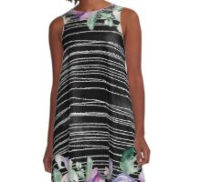 Modern,trendy,contempoary,pattern,art,water color,hand painted, flowers,floral,stripes,white,black,purple, green,blue,lavender A-Line Dress