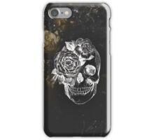 Flower Skull On Moody Yellow Floral Background iPhone Case/Skin