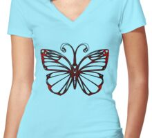 Black Iron Butterfly Women's Fitted V-Neck T-Shirt