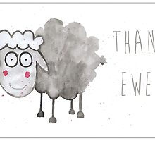 Sheep Thank You/Greetings Card by Francesca  Fearnley