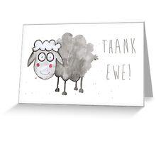 Watercolour Sheep - Thank Ewe  Greeting Card