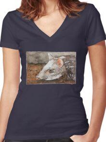 Watercolor Tapir Portrait Women's Fitted V-Neck T-Shirt