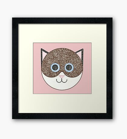Brown and White Cat Framed Print