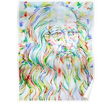LEONARDO DA VINCI - watercolor portrait Poster