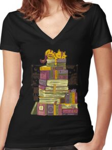 Sleeping On My Treasure Women's Fitted V-Neck T-Shirt