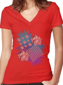 Orange Rose With Starry Background Women's Fitted V-Neck T-Shirt