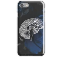 Anatomical Brain On Moody Blue Floral Background iPhone Case/Skin