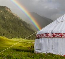 Rainbow over Yurt in Kyrgyzstan, Central Asia Sticker
