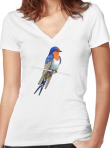 Welcome Swallow Women's Fitted V-Neck T-Shirt
