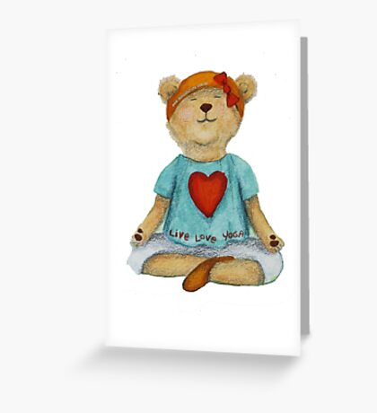 Live Love Yoga Bear in meditation Greeting Card