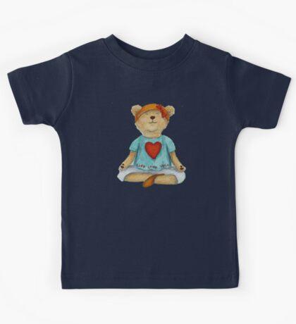 Live Love Yoga Bear in meditation Kids Tee