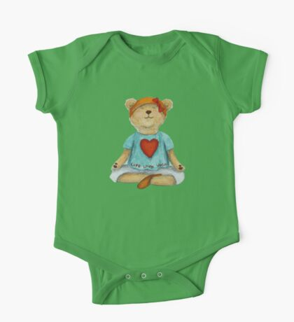 Live Love Yoga Bear in meditation One Piece - Short Sleeve