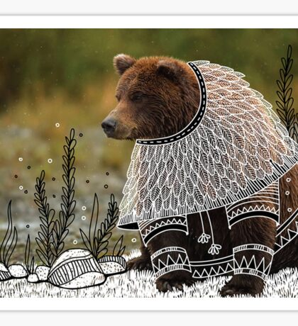 Bear on fancy costume Sticker