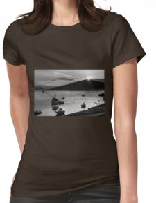 Sunrise over Nissaki - B&W Womens Fitted T-Shirt