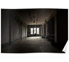 Dark and abandoned interior of a power plant Poster