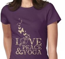 Love, Peace, & Yoga Womens Fitted T-Shirt