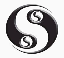 YIN YANG twist, Chinese martial arts symbol, Black on White by TOM HILL - Designer