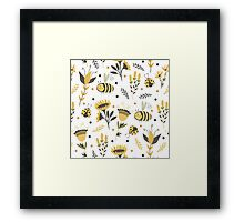 Bees and ladybugs. Gold and black Framed Print