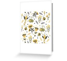 Bees and ladybugs. Gold and black Greeting Card