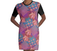 Orange Rose With Starry Background Graphic T-Shirt Dress