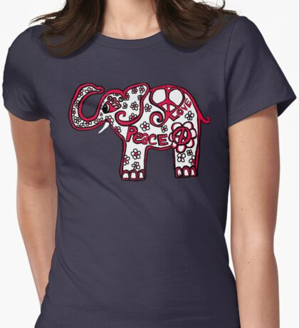 Peace Love Red White Blue Elephant Womens Fitted T-Shirt