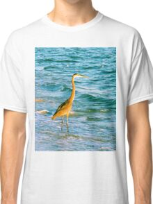 Great Blue Heron with Sand Pipers Classic T-Shirt