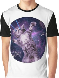 Space Cat Warrior Graphic T-Shirt