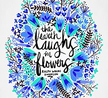 The Earth Laughs in Flowers – Turquoise & Blue by Cat Coquillette