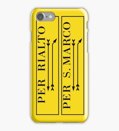 Per Rialto, Per San Marco, Venice Street Sign, Italy iPhone Case/Skin