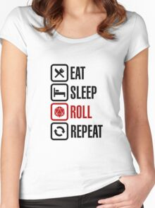 Eat Sleep Roll Repeat (black) Women's Fitted Scoop T-Shirt