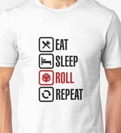 Eat Sleep Roll Repeat (black) Unisex T-Shirt