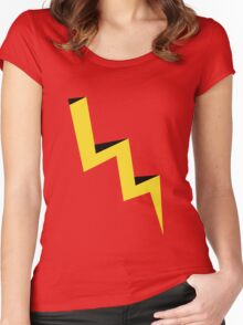 Yellow lightning bolt with black shadow Women's Fitted Scoop T-Shirt