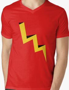 Yellow lightning bolt with black shadow Mens V-Neck T-Shirt