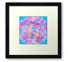 pink blue and purple kisses lipstick abstract background Framed Print