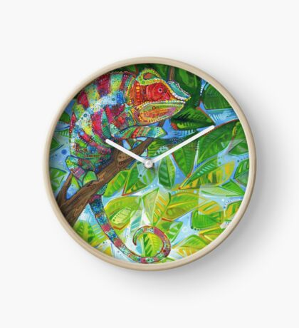 Panther chameleon painting - 2012 Clock