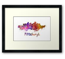 Pittsburgh skyline in watercolor Framed Print