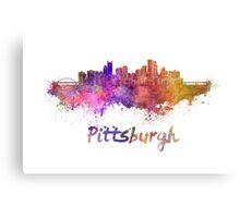 Pittsburgh skyline in watercolor Metal Print