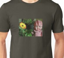 Old Doll enjoying a Gerbera Unisex T-Shirt