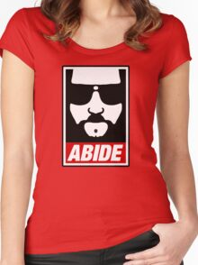 Jeff the big Lebowski abide obey poster Shepard Fairey parody Women's Fitted Scoop T-Shirt