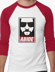 Jeff the big Lebowski abide obey poster Shepard Fairey parody Men's Baseball ¾ T-Shirt