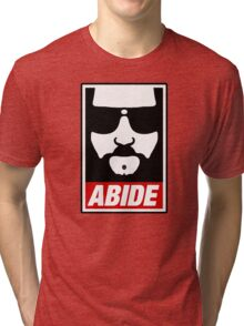 Jeff the big Lebowski abide obey poster Shepard Fairey parody Tri-blend T-Shirt