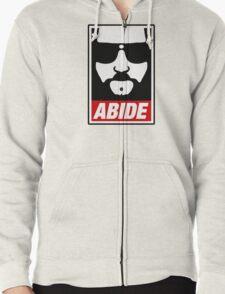Jeff the big Lebowski abide obey poster Shepard Fairey parody Zipped Hoodie