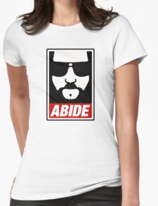 Jeff the big Lebowski abide obey poster Shepard Fairey parody Womens Fitted T-Shirt