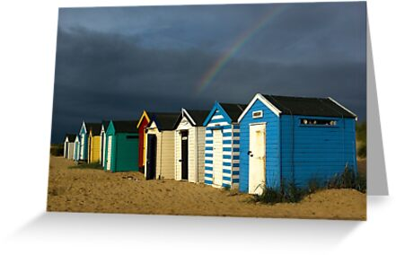 Royal Huts with Rainbow Southwold Suffolk by Kawka