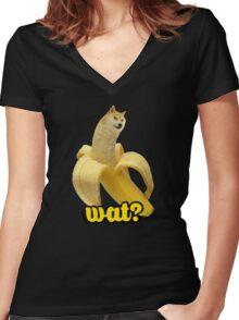 Doge banana dog shibe shiba inus wat? Women's Fitted V-Neck T-Shirt