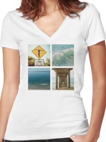 Surfer Girl Paradise Women's Fitted V-Neck T-Shirt